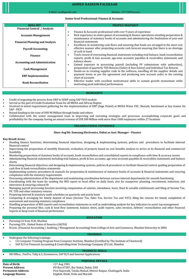 CA Resume Samples | Chartered Accountant Resume Format - Naukri.com