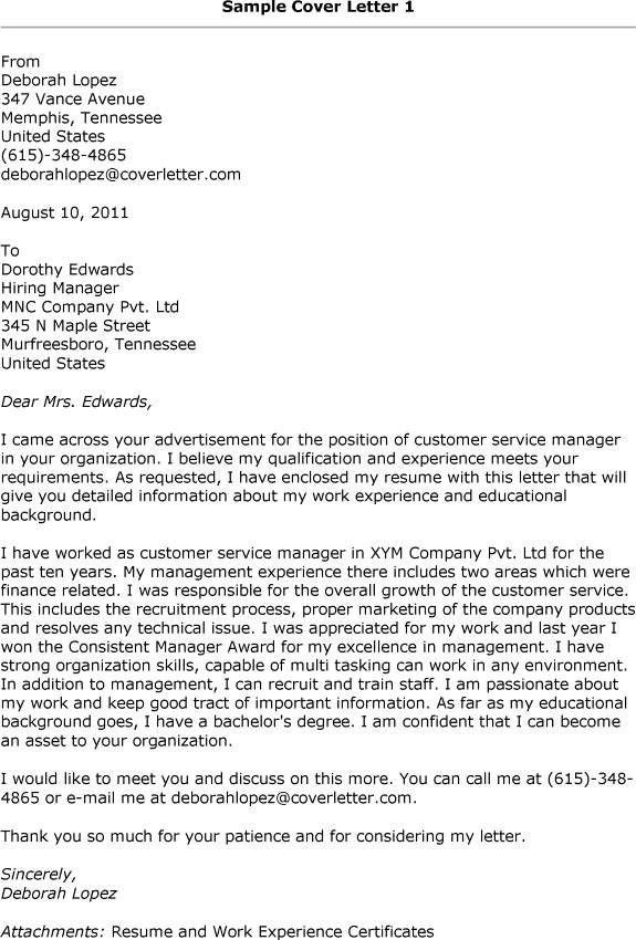 Resume Cover Letter Examples For Customer Service. Online Writing ...