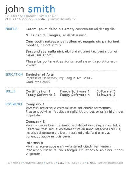 5 Free Resume Templates Word