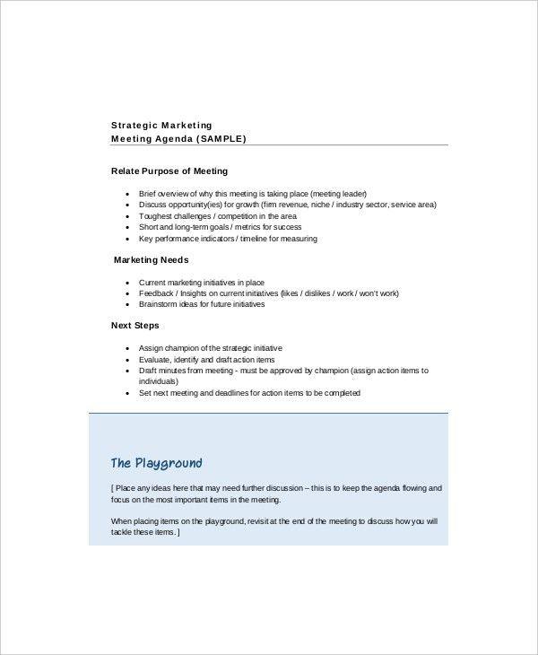 10+ Marketing Meeting Agenda Templates – Free Sample, Example ...