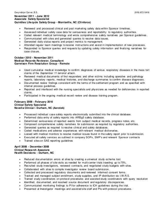 Gwyndolyn Carver-Clinical Research Professional-Drug Safety_21MAR2016