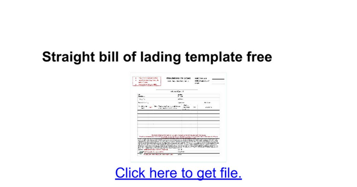 Straight bill of lading template free - Google Docs