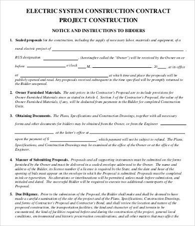 9+ Sample Construction Contract Templates - Free Sample, Example ...