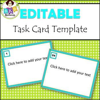 Editable Task Card Template... by BKB Resources | Teachers Pay ...