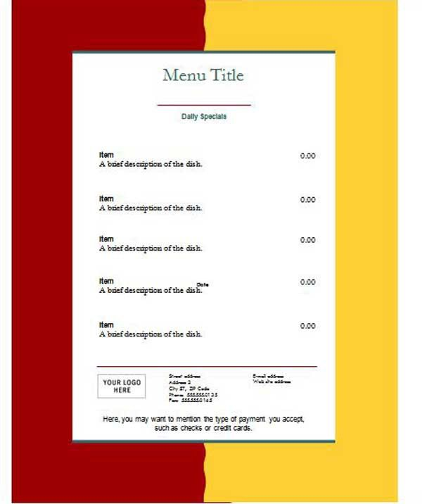 Free Restaurant Menu Template Sample for Ms Word : Helloalive
