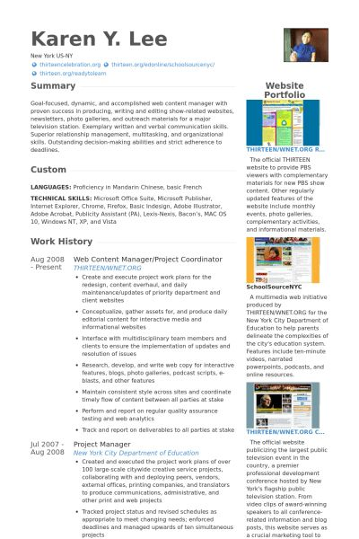 Web Content Manager Resume samples - VisualCV resume samples database