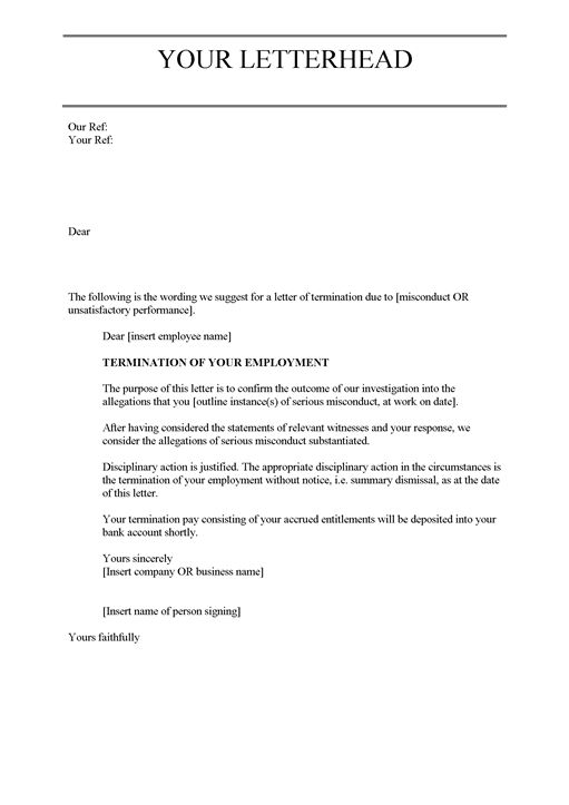 fairworkgovau the sample employment contract termination letter ...