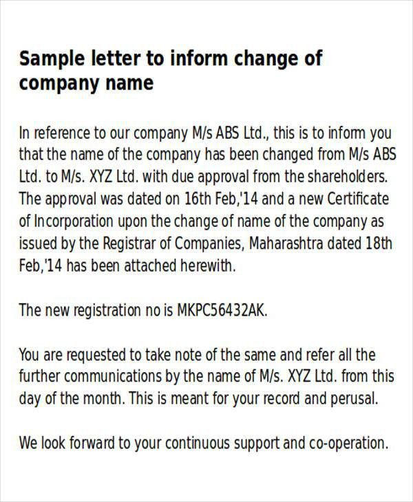 Sample Business Name Change Letter - 6+ Examples in Word, PDF