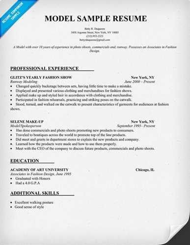 modeling resume template
