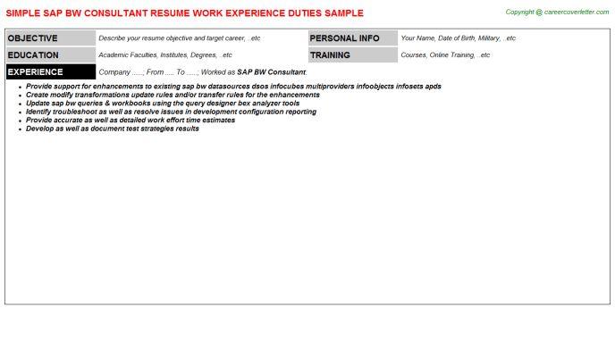 sample sap resume resume cv cover letter. sap bw resume sample ...