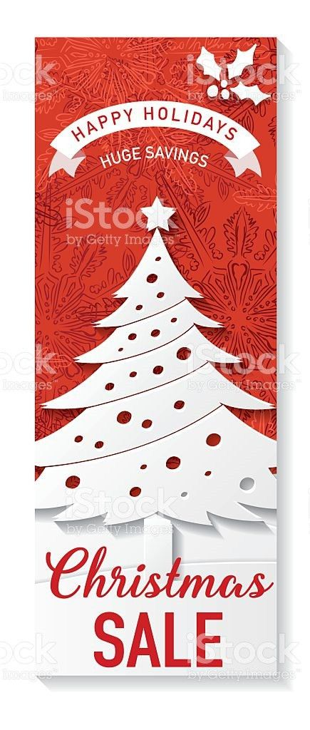 Red And White Christmas Sale Tag Template stock vector art ...