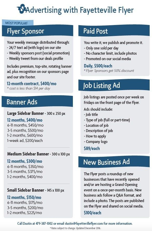 Advertising information | Fayetteville Flyer