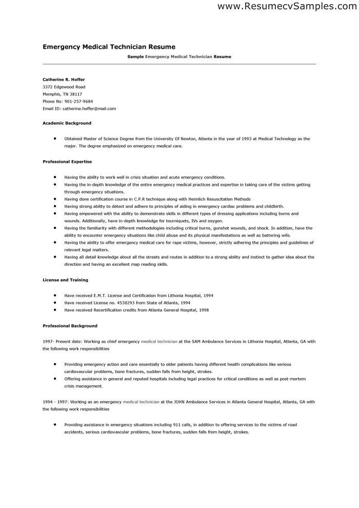 perfect EMT resume - Google Search | irma | Pinterest | Medical ...