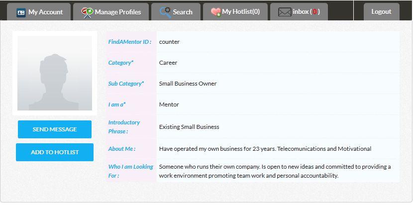 View Sample Mentor Profiles | FINDAMENTOR.COM