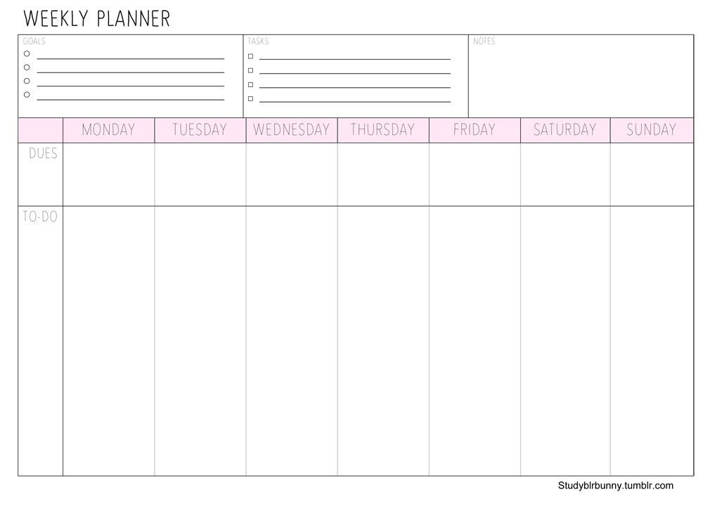 """studyblrbunny: """"Weekly Pastel Planner PrintablesComes in peach ..."""