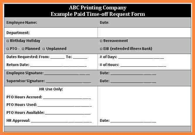 Sample Time Off Request Form. Download Construction Payment .