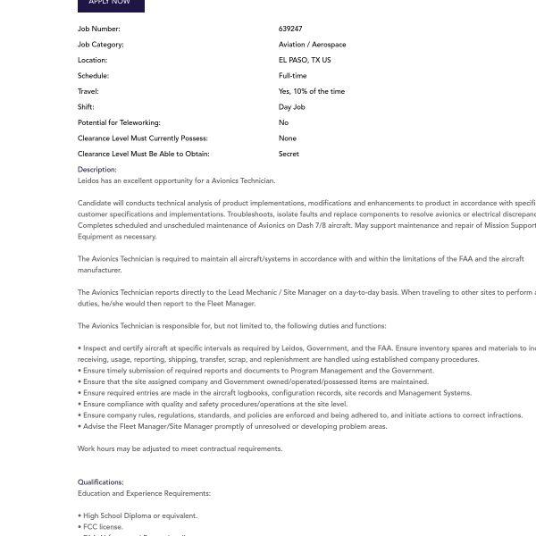 Download Avionics Technician Job Description ...