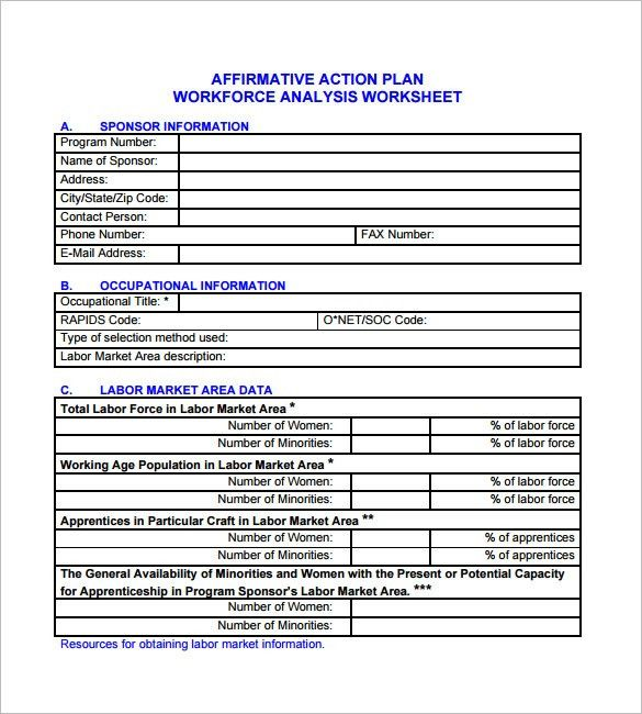 Affirmative Action Plan Template – 7+ Free Sample, Example, Format ...