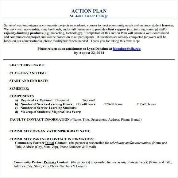Sample Action Plan - 9+ Example, Format