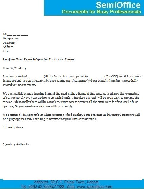 Branch Opening Invitation Letter Format