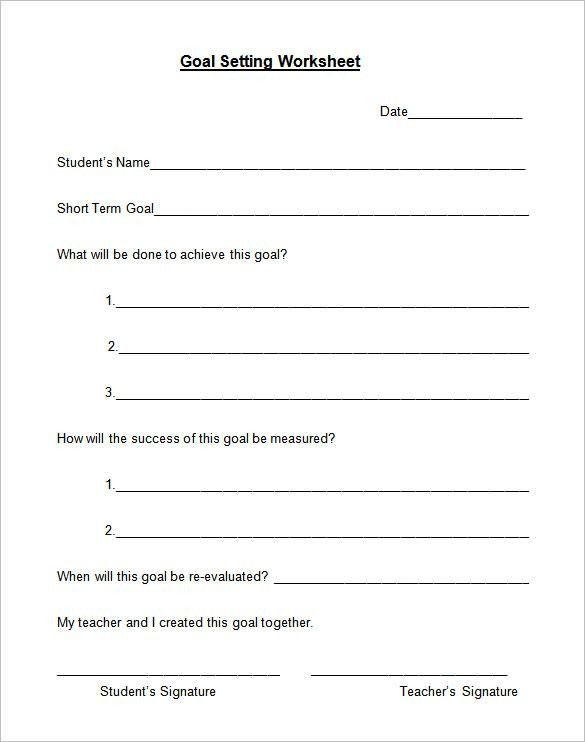5+ Goal Setting Worksheet Templates – Free Word, PDF Documents ...