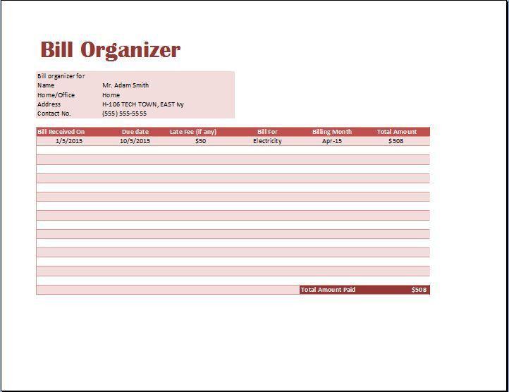 MS Excel Comprehensive Bill Organizer Template   Word & Excel ...