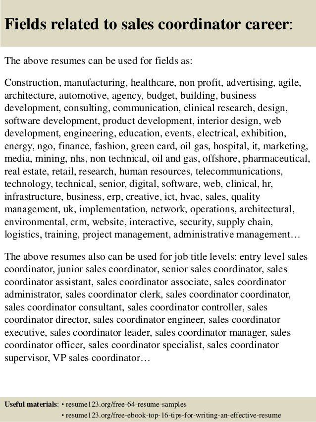 Top 8 sales coordinator resume samples