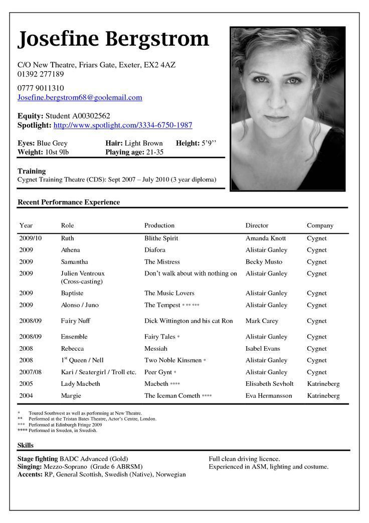 actor resume sample images best 25 acting resume template ideas on pinterest resume - Sample Acting Resume Template Actor Resume Sample