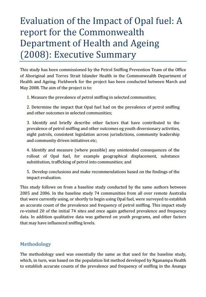 Evaluation of the Impact of Opal fuel: Executive summary ...