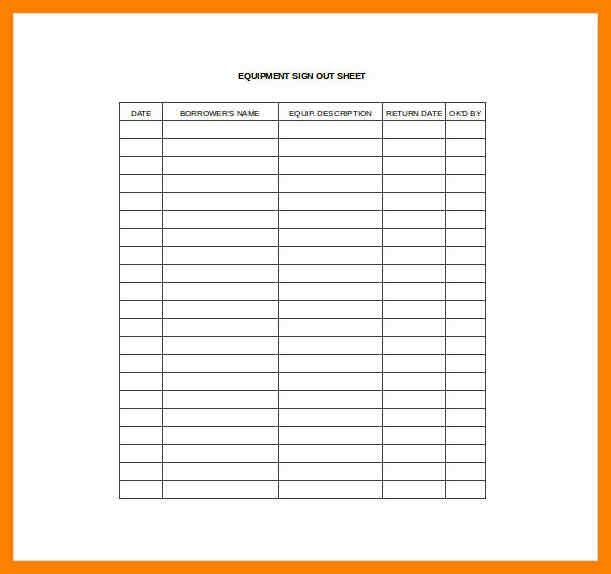 Sign Out Sheet Template. Patient Sign In Sheet Template Sign In ...
