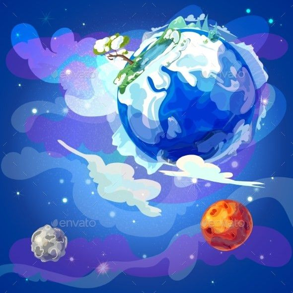 Cartoon Earth Planet In Space Template by VectorPot | GraphicRiver