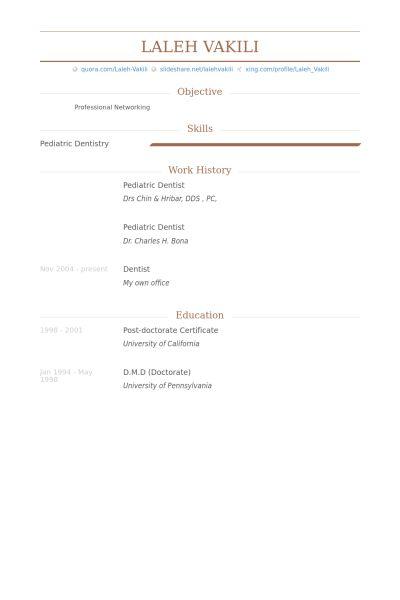 Pediatric Dentist Resume samples - VisualCV resume samples database