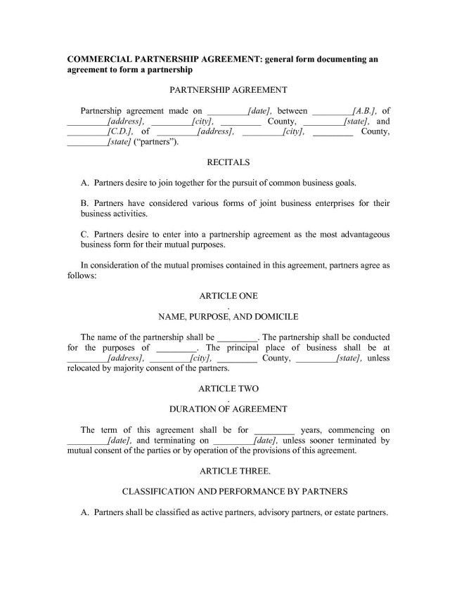 Excellent Commercial Partnership Agreement Format Between Two ...