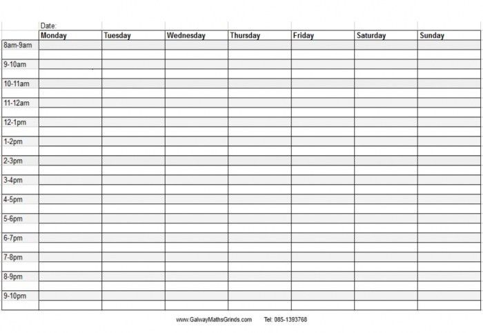 Daily Printable Calendar With Times * Calendar Printable Template