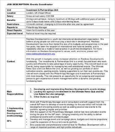 Coordinator Job Description - 8+ Free Word, PDF Documents Download ...