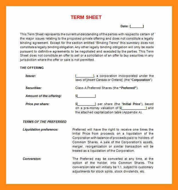 9+ term sheet template word | actor resumed