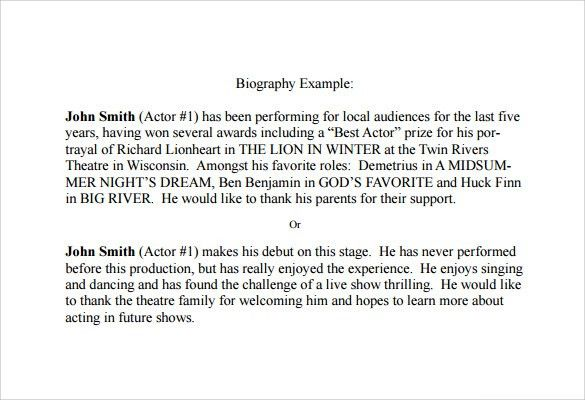 Sample Biography - 6+ Documents in PDF, Word