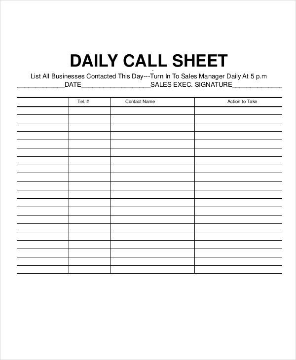 Call Log Sheet Template - 5+ Free Word, PDF, Excel Documents ...