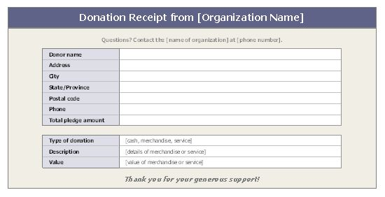 Donation receipt - Office Templates