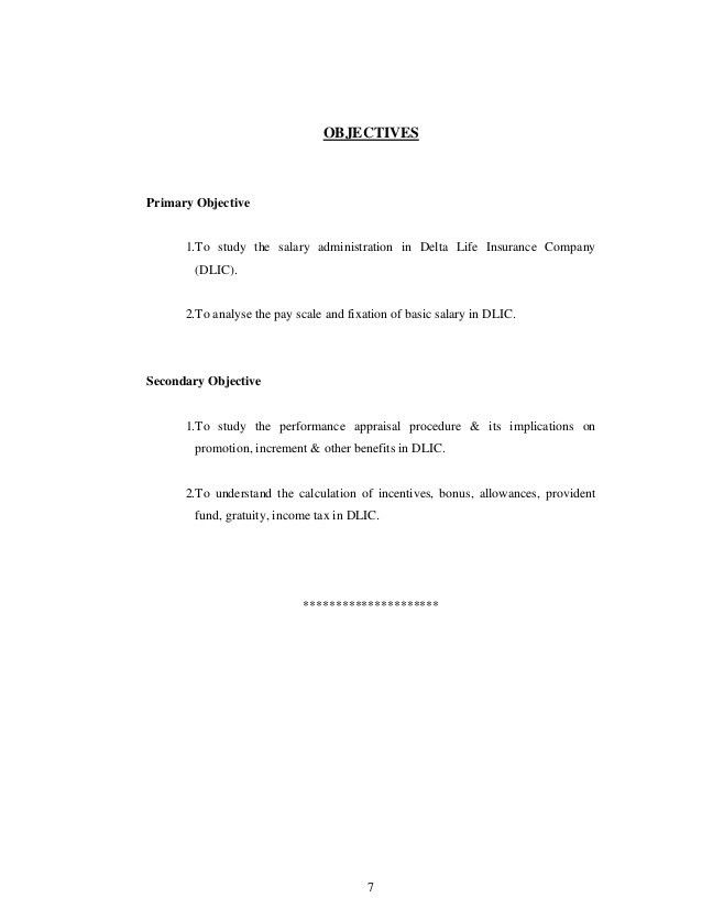 Study of salary administration for delta l ife insurance company ltd