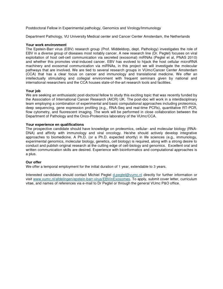 Inspiring Idea Postdoc Cover Letter 2 Sample Biology - CV Resume Ideas