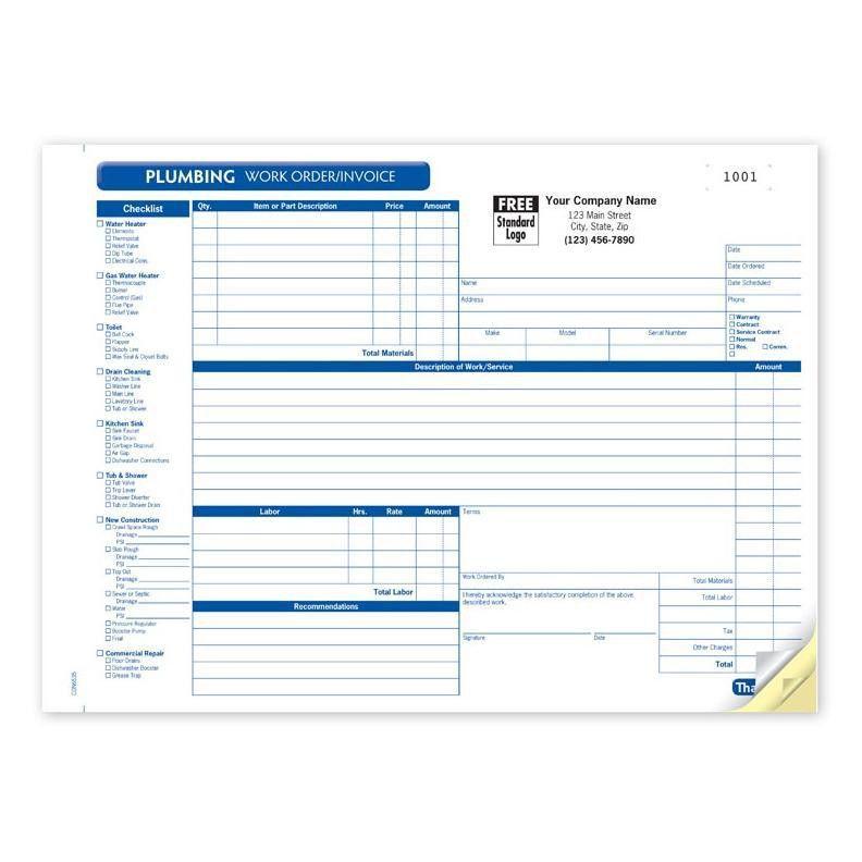 Plumbing Contractor Invoice Forms - Work Order | DesignsnPrint