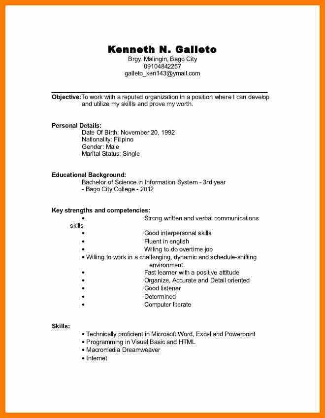 8+ example of undergraduate cv | science-resume