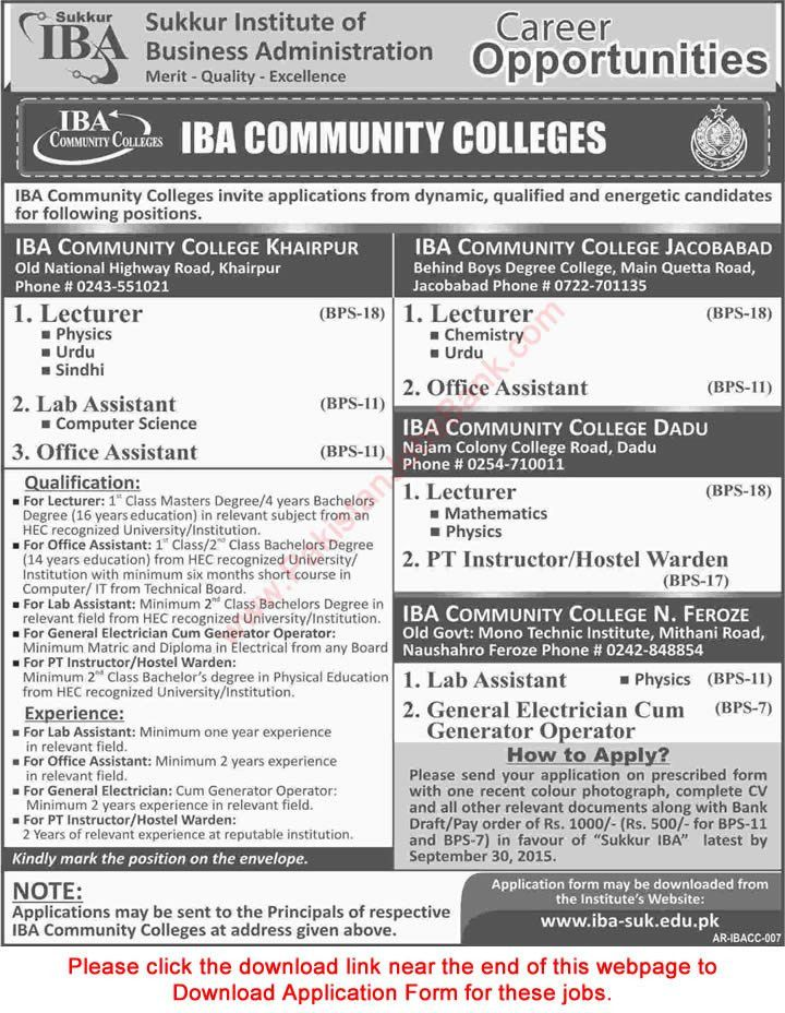 IBA Community Colleges Jobs 2015 September Sindh Application Form ...