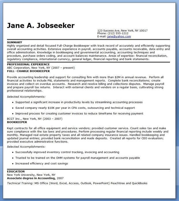 26 + Excellent Bookkeeper Resume Examples : Vinodomia