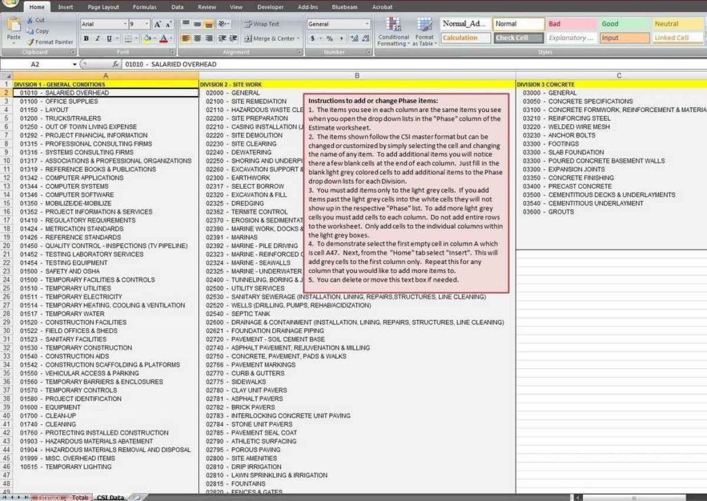 Construction Estimating Spreadsheet Template | HAISUME