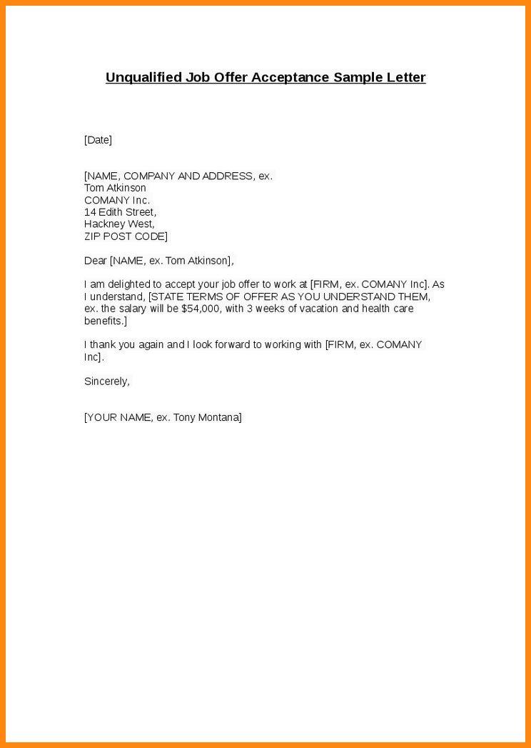 8+ job acceptance letter sample | model resumed