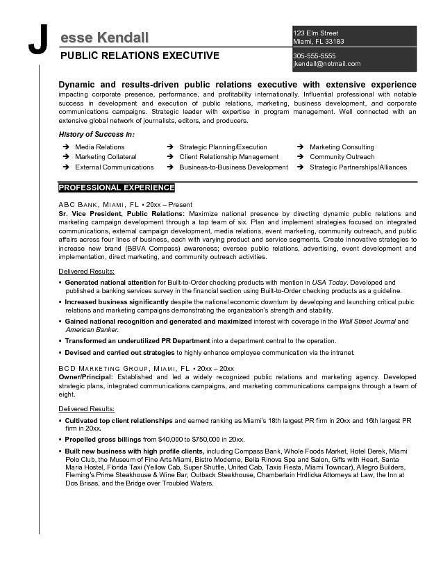 Example Public Relations Executive Resume - Free Sample
