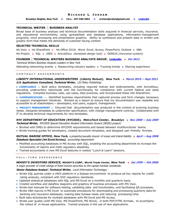 Impressive Career Objective and Profile Business Analyst Resume ...