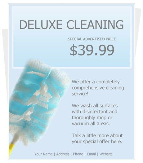 Free cleaning Flyer Template by CleaningFlyer.com
